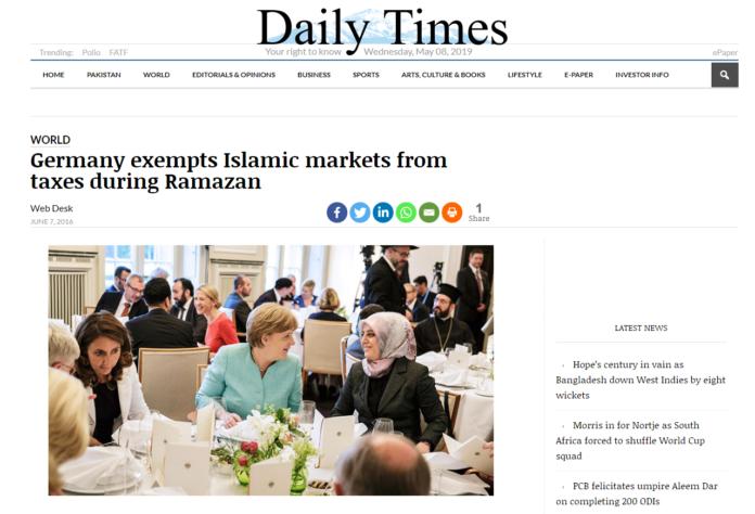 Фейк | Ангела Меркел соҳибкорони мусулмони олмонро дар моҳи Рамазон аз андоз озод кард