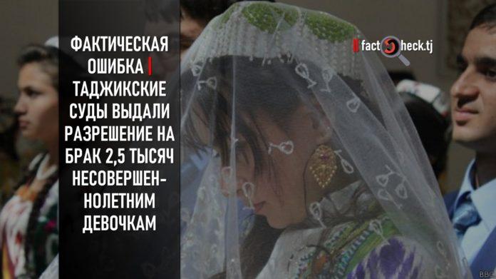Фактическая ошибка | Таджикские суды выдали разрешение на брак 2,5 тысяч несовершеннолетним девочкам
